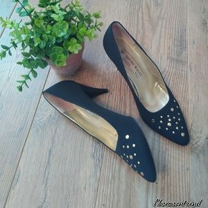 Bruno Magli Satin Studded Pump Shoes Italian Made